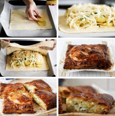 Stap voor stap recept om lekkere aardappeltaart te maken met kaas, prei en witte saus op bladerdeeg gebakken zonder taartvorm