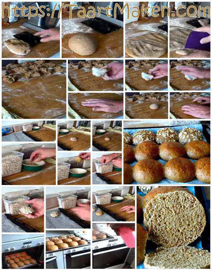Bruine broodjes bakken: stap voor stap foto's