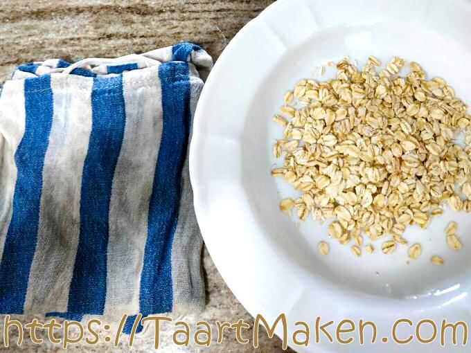 Havermout en natte doek voor topping van broodjes